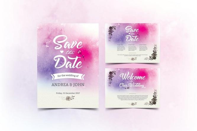 Watercolor desain undangan pernikahan